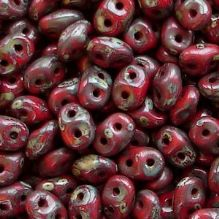 Superduo Beads Red Picasso - 10 grams